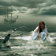 a selkie, looks for her skin.the bird looks on, not bothering to offer her guidance to the treasure. (Rp cuz this is an rp board. Double Exposition, Pirate Life, Pirate Art, All Nature, Merfolk, Story Inspiration, Faeries, The Little Mermaid, Mystic