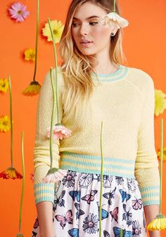 Midtown Mixer Sweater in Buttercup. With a casual networking event around the corner, you look to this pale yellow sweater from our ModCloth namesake label to inspire your look. #yellow #modcloth