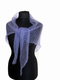 Knitted scarf, lilac mohair shawl, small wool scarves, lavender shawlette, triangle knit scarf, violet wrap, light purple stole, minimalist