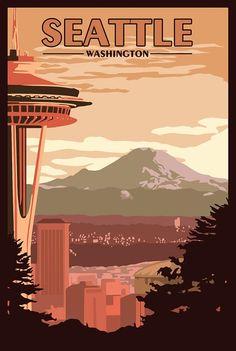 Seattle WA Vintage Travel Poster, 11x17 $20