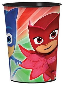 Vaso de Plástico de PJ Masks Vaso de Plástico de PJ Masks, Héroes en Pijama, ideal para regalar en tu fiesta de cumpleaños como recuerdo, para que los niños disfruten de su bebida mientras ven a sus héroes favoritos.