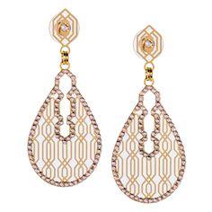 Decorated Geometric Drop Earrings by LK Designs