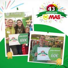 ¡Siguen tocando cupones de 20, 60 y 100€! Acércate a nuestros Supermercados MAS con la Tarjeta Club MAS que hasta final de mayo estamos regalando 500.000€ a todos nuestros clientes. #Aniversario #Mayo #Sorteo #Promo