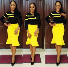 Black top with yellow skirt. African Wear, African Women, African Dress, Black Girl Fashion, Work Fashion, Fashion Outfits, Fashion Design, Latest African Fashion Dresses, African Print Fashion