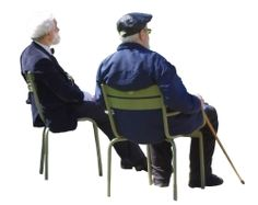 Cutout Man Elderly Group Sitting 0001 available for download in M size