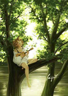 The Melody of Nature - Art Print - Wall Deco - Ukulele - Nature Lover - Soothing - Meditation Art - Peijin Digital Art Girl, Digital Portrait, Portrait Art, Girl Cartoon, Cartoon Art, Ukulele, Alone Art, Meditation Art, Anime Art Girl