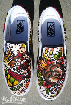 Vintage Tattoo themed Custom hand painted Vans Authentics Shoes by  Chadcantcolorcustoms.com Painted Vans 31720cf9d4