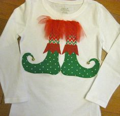 Elf Feet Christmas Shirt Applique Chevron by MadiBethCreations, $23.00