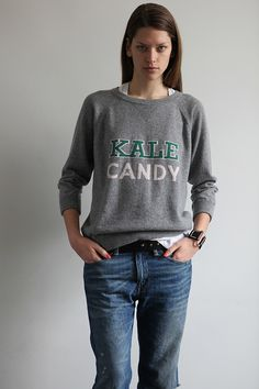 37. Queene and Belle, Scottish Cashmere - Kale Candy Sweatshirt