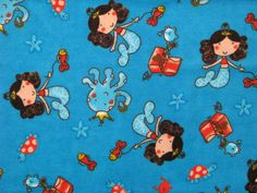 Mermaid Princess blue flannel fabric - mermaid, her octopus, crab and fish friends find treasure chest with crowns, tiaras, jewels  - YARD. $6.75, via Etsy.