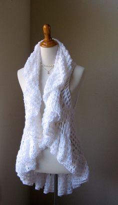 BLANCO chaleco romántico Crochet chaleco suéter por marianavail
