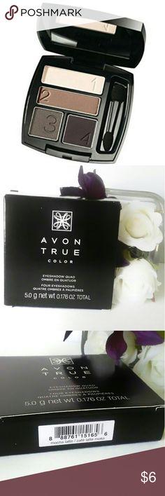Avon True Color Eyeshadow Quad - NIB - Brand New Easy numbered shades for effortless eyes.  Multi-finish.  Color is Mocha Latte. Avon Makeup Eyeshadow