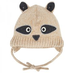 Love a hat with ears and an animal face like this Sterntaler racoon face knit beanie at alexandalexa.com