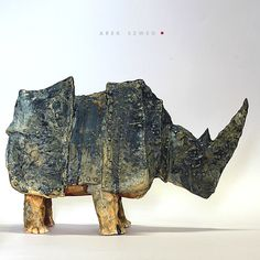 "artpropelled: "" Blue Rhino by Arek Szwed "" Pottery Sculpture, Sculpture Clay, Pottery Art, Ceramic Animals, Clay Animals, Rhino Art, Architectural Sculpture, Sculptures Céramiques, Ceramic Clay"