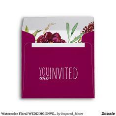 Watercolor Floral WEDDING ENVELOPE