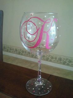 Hand painted classy wine glass by AshleysSoCrafty on Etsy, $17.00