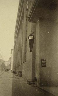 Ukraine, Kharkov, Man hanged by the Germans, in suspicion of Partisan activity.
