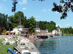 On the shore of Lake Hévíz, Hungary's natural thermal lake