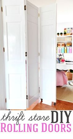 Home Improvement DIY project. How to make DIY rolling doors with thrift store bi… Sponsored Sponsored Home Improvement DIY project. How to make DIY rolling doors with thrift store bifold doors Door Dividers, Room Divider Doors, Sliding Room Dividers, Diy Room Divider, Space Dividers, Room Divider Bookcase, Divider Cabinet, Room Divider Curtain, Room Divider Screen