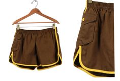 "Vintage VTG VG 1970's 70's GYM Shorts Athletic Retro Hipster Brown and Yellow Summer Running Shorts Unisex Adults Men's Large 29"" to 38"" by foxandfawns on Etsy"