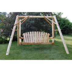Lawn Swing, Porch Swing, Rustic Dining Room Sets, 150 Lbs, White Cedar, North America, Canopies, Manual, Butter