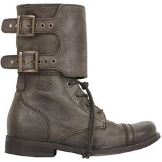Damisi Boot ($148) ❤ liked on Polyvore featuring shoes, boots, brown, women, brown leather shoes, lace up boots, lace up work boots, buckle boots and two tone boots