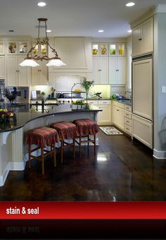 stained concrete floors. This is what I want in my kitchen and bathroom.