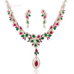 Gorgeous Jewelry Set Cluster Faux Ruby&Emerald Natural Zirconia Party Gift CN114 #Bearfamilybirth
