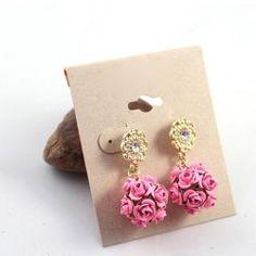 $3.75 Pair of Elegant Style Rhinestone Rose Shape Earrings For Women