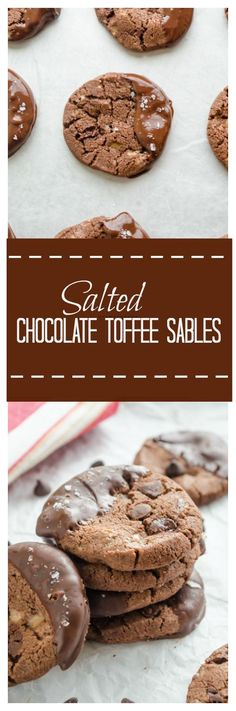 Salted Chocolate Toffee Sables are chewy, triple chocolate cookies with toffee bits and sea salt.  They're the most addicting chocolate cookies ever!  @FlavortheMoment