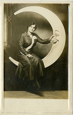 Happy Man in Moon with Pretty Lady - Paper Moon Real Photo Postcard