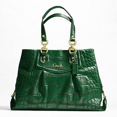 ASHLEY EMBOSSED CROC CARRYALL..Jim bought me on like this for Christmas, but in tan with silver hardware. I love it.
