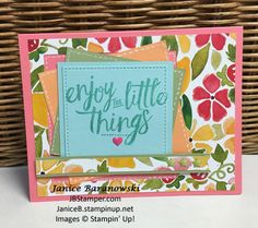 #JBStamper, Layering Love, Fruit Stand DSP, Stitched Shapes and Squares Collection framelits. enjoy-the-little-things-enhanced