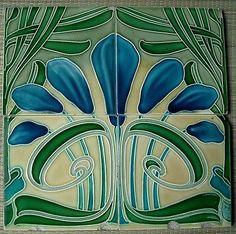 ¤ Germany - VILLEROY & BOCH - Antique Art Nouveau  Majolica 4 Tiles panel set C1900