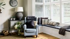 Looking for ideas to create the perfect reading nook in your home? Window seats make the perfect place to create a cosy corner in your home. Cast the right light on your bay window seat with shutters.