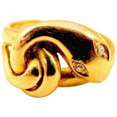 Preowned Antique Gold Snake Ring ($2,300) ❤ liked on Polyvore featuring jewelry, rings, fashion rings, multiple, 18k ring, preowned engagement rings, swirl ring, antique gold rings and pre owned rings