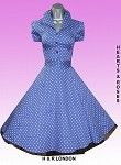 Rockabilly Dresses by Designers like H London with this Blue Polka Dot Vintage Style Swing Dress at Jackdawlanding.com