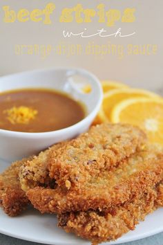 High Heels and Grills: Man Mondays: Beef Strips with Orange-Dijon Dipping Sauce. They're like chicken strips excepth they're with beef and they taste ten times better.