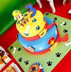 Great cake at a Paw Patrol birthday party! See more party planning ideas at CatchMyParty.com!