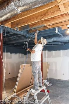 How to Frame around the duct-work in basements (Ceiling Ideas Basement remodel Basement ceiling ideas Finished basement ideas How to finish a basement Basement bar ideas Unfinished basement ideas Unfinished Basement Ceiling, Basement Ceiling Options, Old Basement, Basement Makeover, Basement Plans, Basement Flooring, Basement Renovations, Basement Bathroom, Industrial Basement