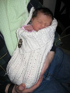"Button-up Baby Wrap, a ""cocoon"" for newborns.  Because I LOVE sweaters ;)"