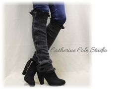 gothic steampunk striped boot socks by CatherineColeStudio
