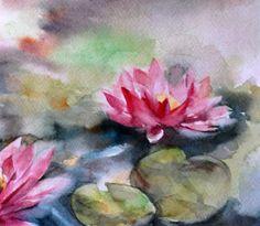 Waterlilies Painting Original Watercolor Painting by CanotStop