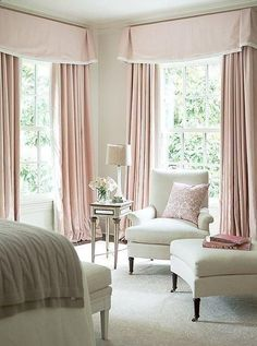 Sophisticated And Feminine Pale Pink Bedroom With Floor To Ceiling Curtains All White