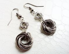 Mobius knots, chainmaille earrings  by MercysFancy on Etsy