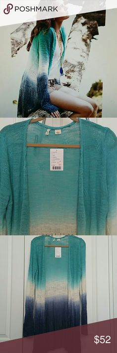 NWT Anthropologie tonal tide Moth ombre sweater L New with tags - I bought this from Anthropologie for $94.96 they gave me 15% off because of a small hole in the shoulder. The last picture shows where it used to be. Moth Sweaters