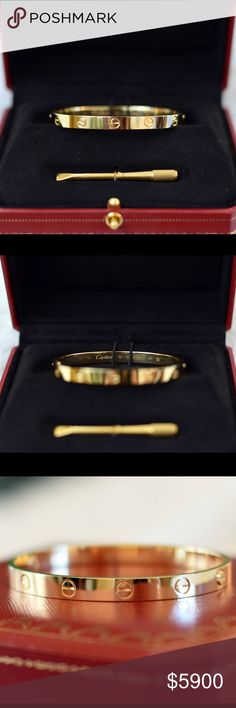 💯Auth. Cartier Love Bracelet 18k Yellow Gld Sz 18 100% Authentic Cartier Love Bangle Bracelet - 18K Yellow Gold - Size 18.  Bracelet has been handled a few times - mainly for admiration, but most recently to photograph for this listing.  Selling thru Poshmark only. I will negotiate a little bit, but not too much. I consider this bracelet new cause it has never been worn, although there may a be a few hairline scratches from handling.  Comes with original Cartier boxes, screwdriver…