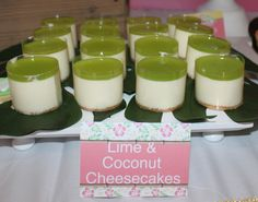 Lime and coconut cheesecakes at a Hawaiian Luau Party #luau #cheesecake