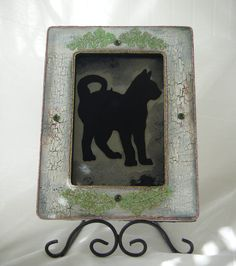 Cat silhouette antiqued mirror by BusterJustis,