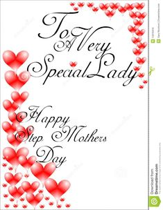 mothers day cards for stepmothers | Greetings for happy stepmothers day on white with red hearts.